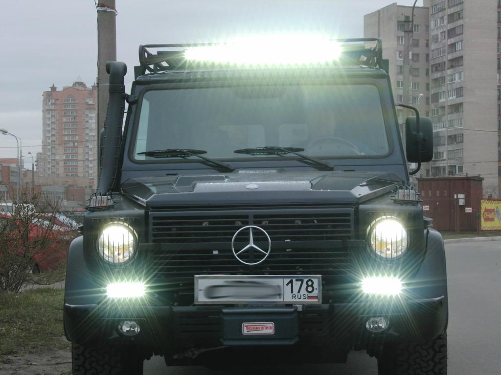 Дополнительное освещение на Mercedes-Benz G63